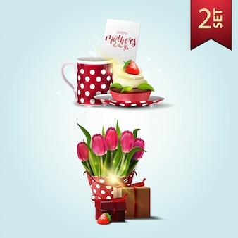 Zestaw ikon na dzień matki, filiżanka herbaty z cupcake, wiadro z tulipanów i prezent