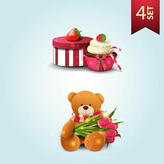 Zestaw ikon na dzień matki, prezent, truskawka, ciastko i misia z bukietem tulipanów