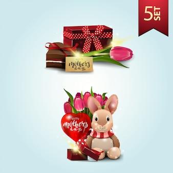 Zestaw ikon na dzień matki, prezent, tulipan, słodycze, pluszowy królik, tulipany i prezent