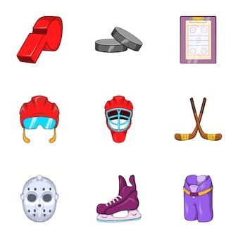 Zestaw ikon na lodzie, stylu cartoon