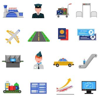 Zestaw ikon na lotnisko