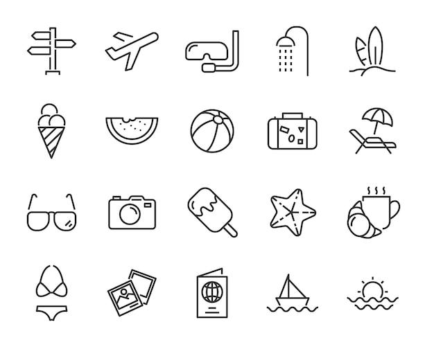 Zestaw ikon na wakacje, takich jak podróż, lato, wycieczka, wakacje, plaża, pora roku