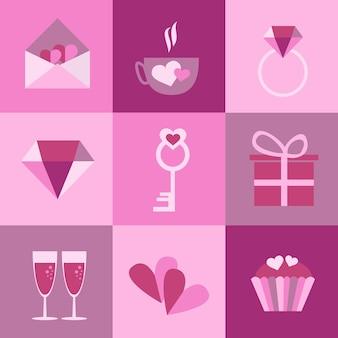 Zestaw ikon na walentynki, dzień matki, ślub, miłość i romantyczne wydarzenia