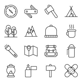 Zestaw ikon na wędrówki, z ikoną stylu konturu