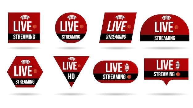 Zestaw ikon na żywo strumieniowego przesyłania wideo logo interfejs baneru wiadomości telewizyjnych