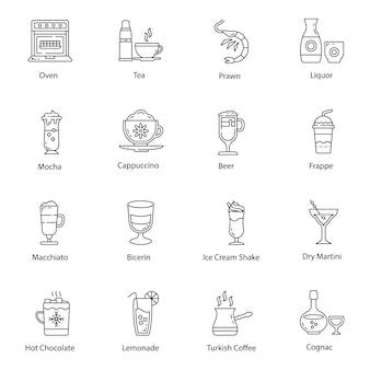 Zestaw ikon naczyń i żywności