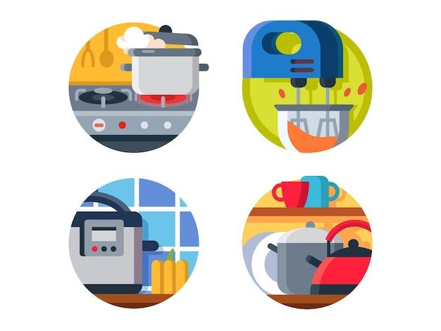 Zestaw ikon naczynia kuchenne. kuchenka i czajnik, parowar z blenderem. ilustracja