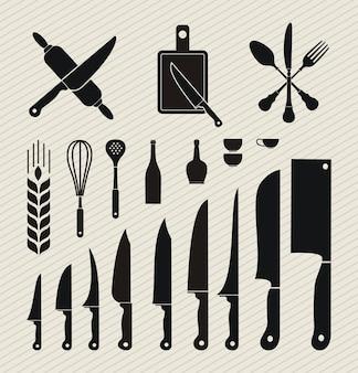 Zestaw ikon naczynia kuchenne w stylu płaska konstrukcja