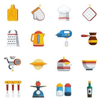 Zestaw ikon naczynia kuchenne