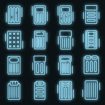 Zestaw ikon nadmuchiwany materac. zarys zestaw ikon wektorowych nadmuchiwany materac w kolorze neonowym na czarno