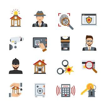 Zestaw ikon nadzoru i bezpieczeństwa