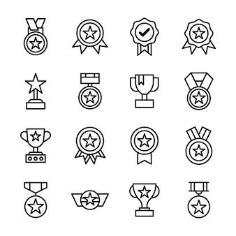 Zestaw ikon nagród i trofeów