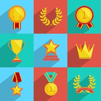 Zestaw ikon nagród kolorowych