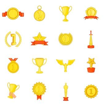 Zestaw ikon nagrody trofeum