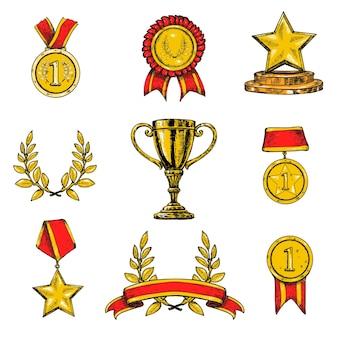 Zestaw ikon nagrody w kolorze