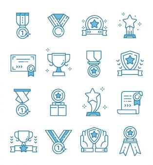 Zestaw ikon nagrody w stylu konspektu