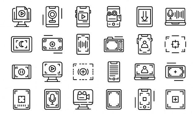 Zestaw ikon nagrywania ekranu