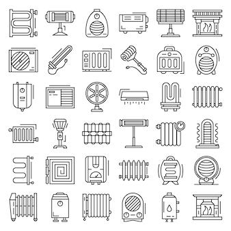 Zestaw ikon nagrzewnicy elektrycznej. zarys zestaw ikon wektorowych grzejnika elektrycznego
