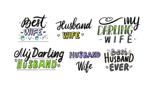 Zestaw ikon najlepszy mąż i żona kiedykolwiek odręczny napis lub typografii. cytat, godło, etykieta na rocznicę kartkę z życzeniami, baner, t-shirt, element projektu nadruku tshirt. ilustracja wektorowa