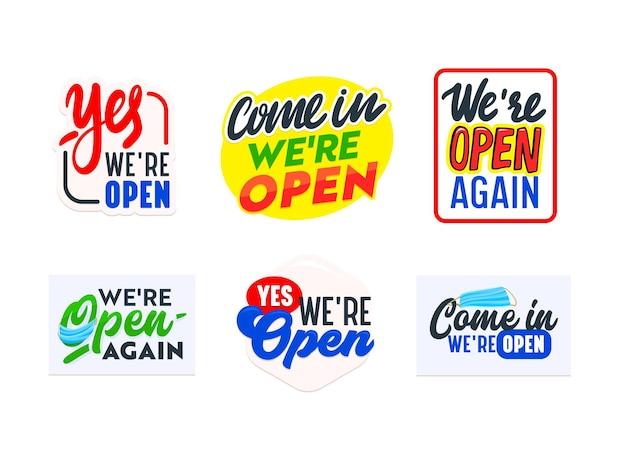 Zestaw ikon, naklejek lub baneru jesteśmy otwartą koncepcją, znak dla sklepu, drzwi sklepu lub usługi firmy biznesowej. informacje, typografia projekt etykiety dla restauracji lub supermarketu. ilustracja wektorowa