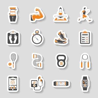Zestaw ikon naklejki fitness