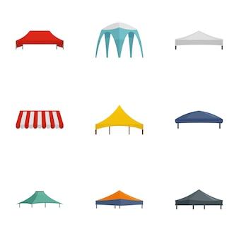 Zestaw ikon namiotu składanego, płaski