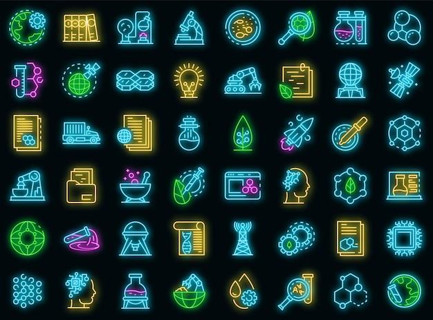 Zestaw ikon nanotechnologii. zarys zestaw ikon wektorowych nanotechnologii w kolorze neonowym na czarno