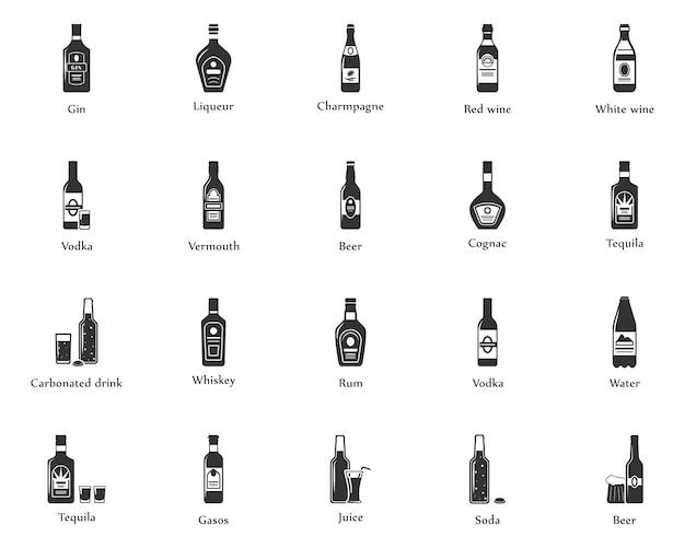 Zestaw ikon napojów alkoholowych. butelki, szklanki do restauracji i barów.
