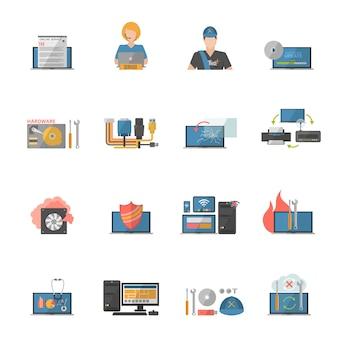 Zestaw ikon naprawy komputera