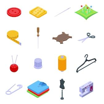 Zestaw ikon naprawy odzieży. izometryczny zestaw ikon naprawy odzieży dla sieci web na białym tle