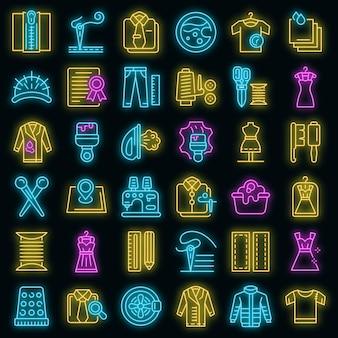 Zestaw ikon naprawy odzieży. zarys zestaw ikon wektorowych naprawy odzieży w kolorze neonowym na czarno