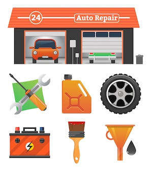 Zestaw ikon naprawy samochodu