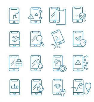 Zestaw ikon naprawy smartfona w stylu konspektu
