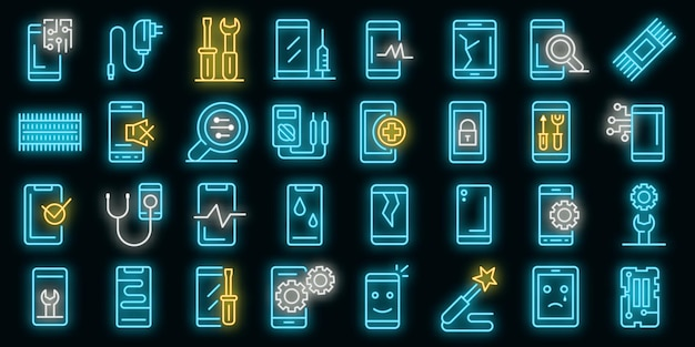 Zestaw ikon naprawy telefonu komórkowego. zarys zestaw ikon wektorowych naprawy telefonu komórkowego w kolorze neonowym na czarno