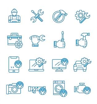 Zestaw ikon naprawy w stylu konspektu.