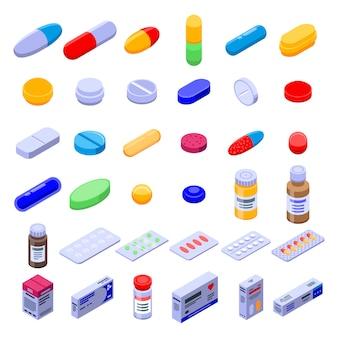 Zestaw ikon narkotyków pigułki