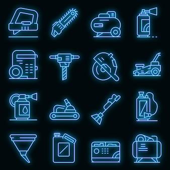 Zestaw ikon narzędzi benzynowych. zarys zestaw narzędzi benzynowych wektorowe ikony neonowy kolor na czarno