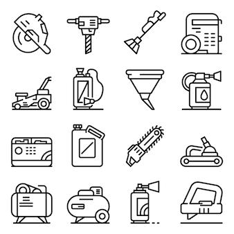 Zestaw ikon narzędzi benzyny, styl konturu