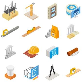 Zestaw ikon narzędzi budowlanych, styl izometryczny
