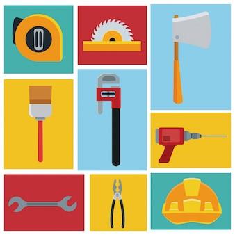 Zestaw ikon narzędzi budowlanych vector ilustration icon urban