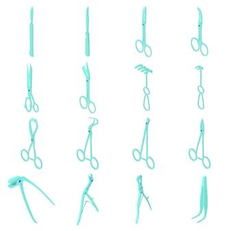 Zestaw ikon narzędzi chirurgów. izometryczna ilustracja 16 chirurgów narzędzi wektorowych ikon dla sieci