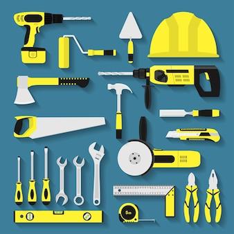 Zestaw ikon narzędzi do naprawy i budowy, styl ilustracji
