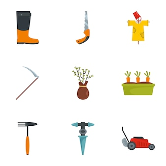 Zestaw ikon narzędzi gospodarstwa, płaski
