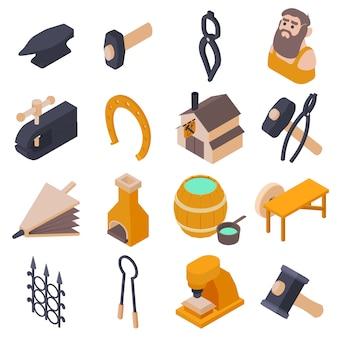 Zestaw ikon narzędzi kowala. izometryczna ilustracja 16 narzędzi kowala ikony ustawiać wektorowe ikony dla sieci