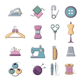 Zestaw ikon narzędzi krawieckich