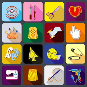 Zestaw ikon narzędzi krawieckich.