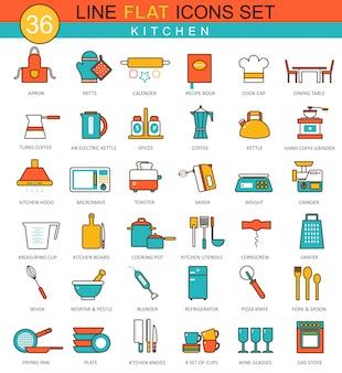 Zestaw ikon narzędzi kuchennych płaskiej linii