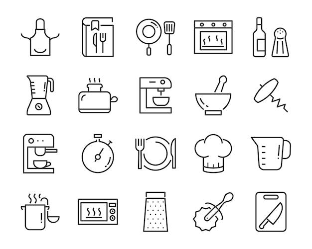 Zestaw ikon narzędzi kuchennych