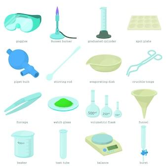 Zestaw ikon narzędzi laboratorium chemicznego