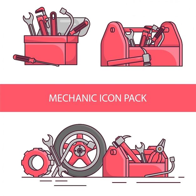Zestaw ikon narzędzi mechanicznych